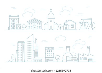 Urban landscape linear. Small town with buildings city houses exterior vector thin line pictures