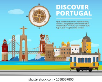Urban landscape of lisabon portugal. Culture objects set. Vector portugal building and landmark, travel portuguese culture illustration