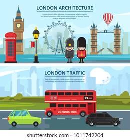 Urban landscape of london. Vector banners set. City london landscape street, british landmark illustration