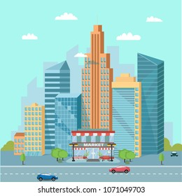 Urban landscape with market places, skyscrapers and city buildings near the freeway - roads with car trafic. Vector illustration