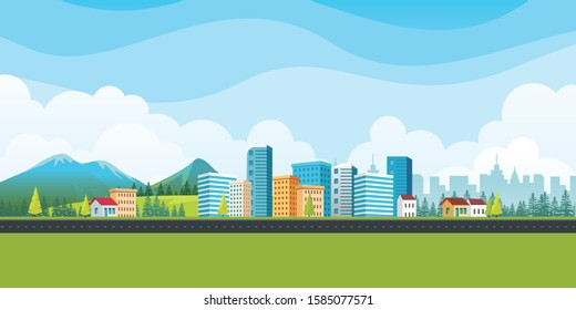 Urban landscape with modern buildings and suburb houses with Nature landscape background mountains and hills