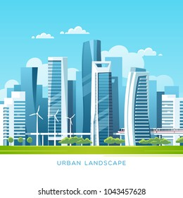Urban landscape with modern skyscrapers and subway. Vector illustration.