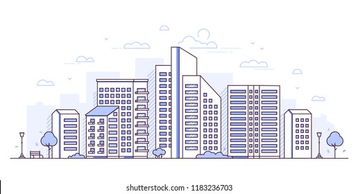 Urban landscape - modern thin line design style vector illustration on white background. Purple colored high quality composition with skyscrapers, lanterns, bench. City architecture concept