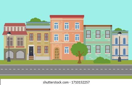 Urban landscape. Retro. Panorama of the streets. Vector illustration