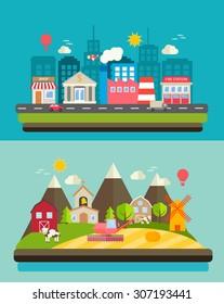 Urban landscape and rural scenery comparison, web banners set, vector illustration