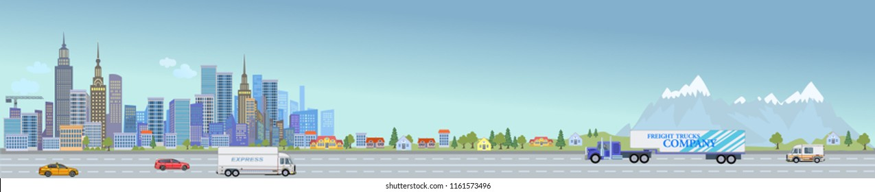 Urban landscape street with city office buildings and car. Family houses in town and mountain with green trees in background. Traffic on the road.