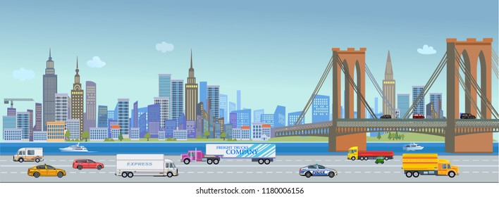 Urban landscape street with city office buildings and car.River and bridge. Traffic on the road.
