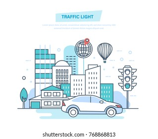 Urban landscape, street city, city transport, traditional street traffic light. Urban surroundings, trip, travel, modern vehicle. Illustration thin line design of vector doodles.