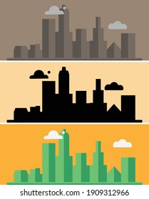Urban landscape template. Thin line cityscape. City center landscape with tall skyscrapers. Architecture panorama Goverment buildings Isolated outline, illustration. Illustration about urban life