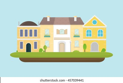 Urban landscape with two-story houses, lantern, plants on a blue background, vector illustration in flat style