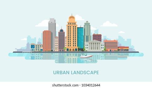 Urban landscape vector illustration. Big city landscape background with skyscrapers on the water's edge. City modern buildings on the shore. Eps 10