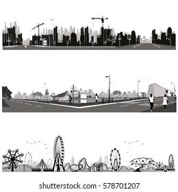 Urban landscape.City skyline.Vector illustration.