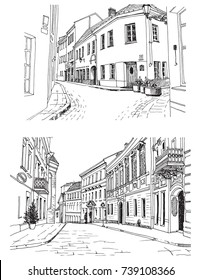 Urban landscapes in hand drawn ink line style. Old city street sketches on white background. Lithuania, Vilnius. Vector illustration