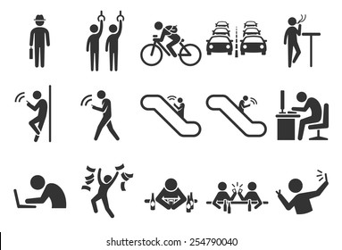 Urban life in the city vector illustration icon set. Included the icons as traffic jam, transportation, hangout, work in the office, chat on mobile, drink and more.