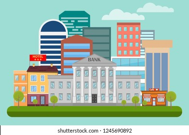 Urban life concept with architecture icons design. Vector illustration in modern flat style, urban landscape