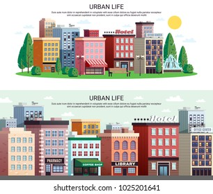 Urban life horizontal banners with picturesque town center shopping area houses with zoom effect isolated vector illustration