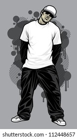 bbb00939c2ae Urban Male Tshirt Model Vector illustration of a young urban male model  posing in a white