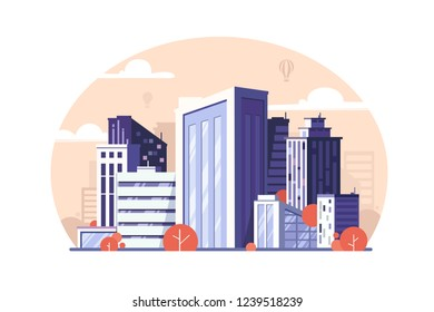 Urban modern megapolis with skyscraper and tree. Concept residential and business district for people. Vector illustration.