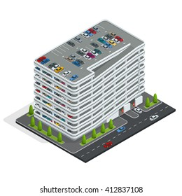 Urban multi-storey car parking. Can be used for advertisement, infographics, game or mobile apps icon.