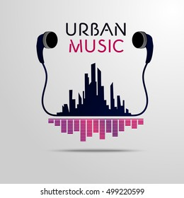 Urban music city scape with headphones and equalizer theme vector illustration