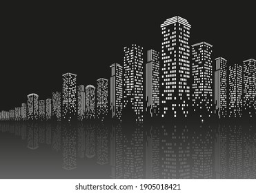Urban night modern landscape, black and white silhouette with shadow, vector image in flat design.