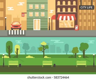 Urban park and city street. Vector concept illustration. Infographic elements.