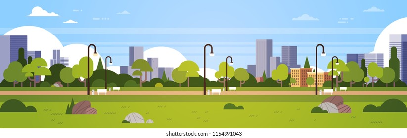 urban park outdoors city buildings street lamps cityscape concept horizontal banner flat vector illustration