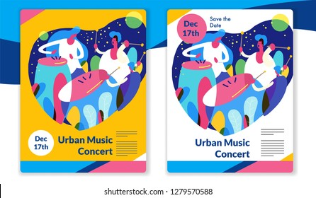 Urban percussion music concert. ready template vector
