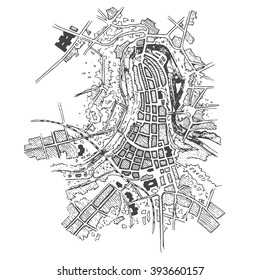 Urban plan of a city, old village. Doodle city map. Vector city drawing. Futuristic Megalopolis City Basis Plan.