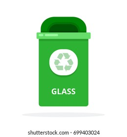 Urban plastic trash bin with emblem for glass waste vector flat material design isolated on white