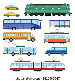 Urban public transport set. Collection of bus, minibus, taxi, tram, train, trolleybus, school bus in side view. Vector illustration