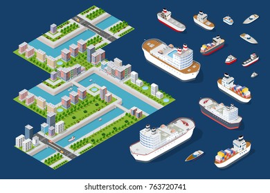 Urban quarters of the town with houses, river and the embankment. A set for constructing an isometric city. Includes skyscrapers, houses, shops offices, natural sites, trees, ships, transport