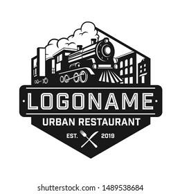 Urban Restaurant vector logo design. Industrial railway.