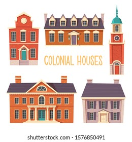 Urban retro colonial style building cartoon vector set illustration. Old residential and government buildings, Victorian houses isolated on white background