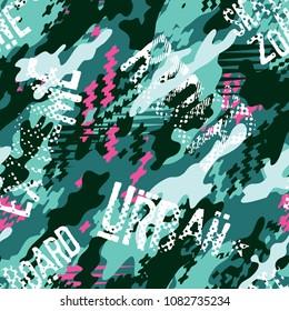 Urban rider abstract camouflage wallpaper, skateboarding street wear vector mimetic seamless pattern
