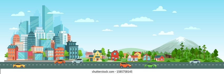 Urban road with cars landscape. City road traffic, big city buildings, suburban houses and wild nature landscape. Residential and road panorama, transportation district vector illustration