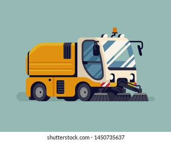 Urban road sweeper truck. City cleaning sanitation service vehicle quality vector illustration. Modern mechanical street sweeper machine, isolated