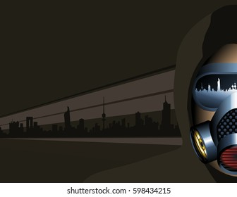 Urban Scene Man Wearing A Pollution Mask