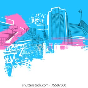 urban scenery collage