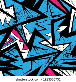 Urban seamless abstract pattern with curved geometry elements and grunge spots