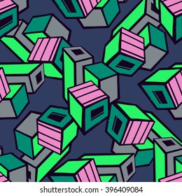 Urban seamless pattern. Vector line art.