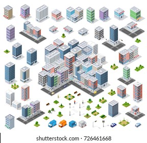 Urban set Isometric area of the city infrastructure with transport, streets, houses