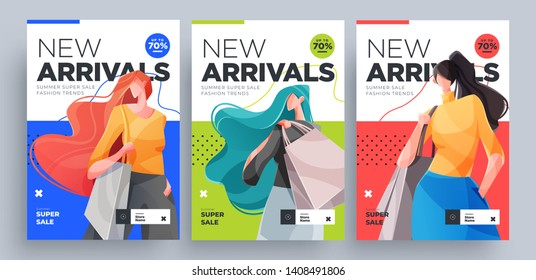 Urban shopping girls banners set. Fashion girls with shopping bags. Vector