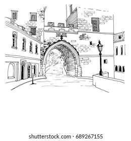 Urban sketch with landscape of the old European city. Old street and archway in hand drawn style on white background. Vector illustration