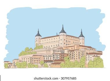 urban sketch of old town of Toledo, Spain
