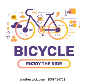 Urban sport bicycle color concept on white background. Vector creative abstract illustration with title, icon. Line art flat style design for web, site, banner