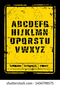 Urban Stencil Rough Font On Distressed Grunge Background.