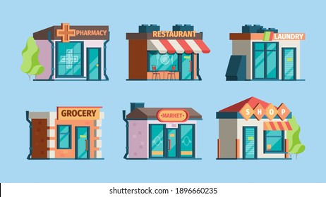 Urban stores. Retail shops in city exterior facade front view pharmacy caffe local restaurant garish vector flat pictures