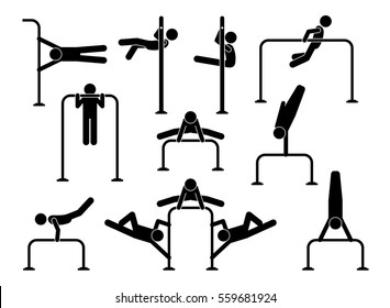 Urban street calisthenics. Athletes people workout on gymnastic exercises to get body fitness, flexibility, muscles, weight training, and strong health. The exercises uses gross motor movements.