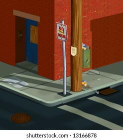 Urban street corner scene. Low sunlight casts long shadows across litter-strewn sidewalk.